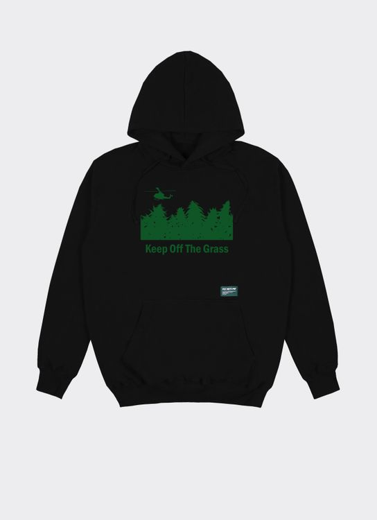 Pot Meets Pop Denim Keep Off Grass Hoodie Black