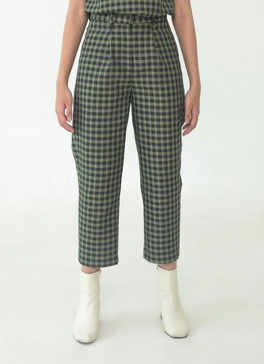 SOL Straight Pants - Green Checkered
