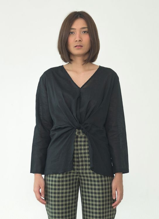 SOL Tied Blouse - Black