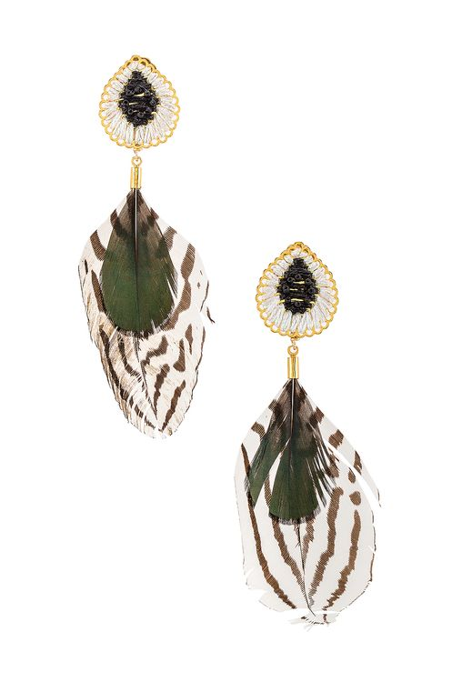 Mercedes Salazar Double Feather Dangle Earring