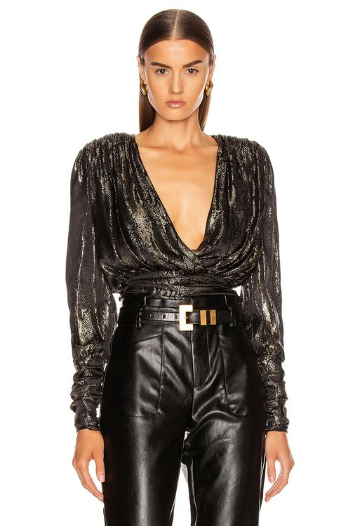 Redemption Gold Python Draped Blouse