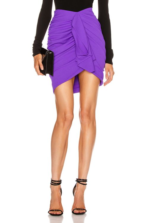 Redemption Draped Crepe Mini Skirt
