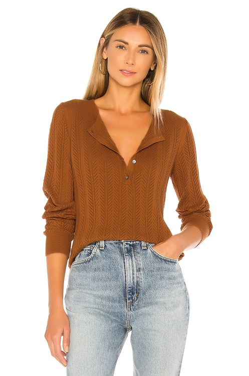 One Grey Day Mae Long Sleeve Henley Sweater