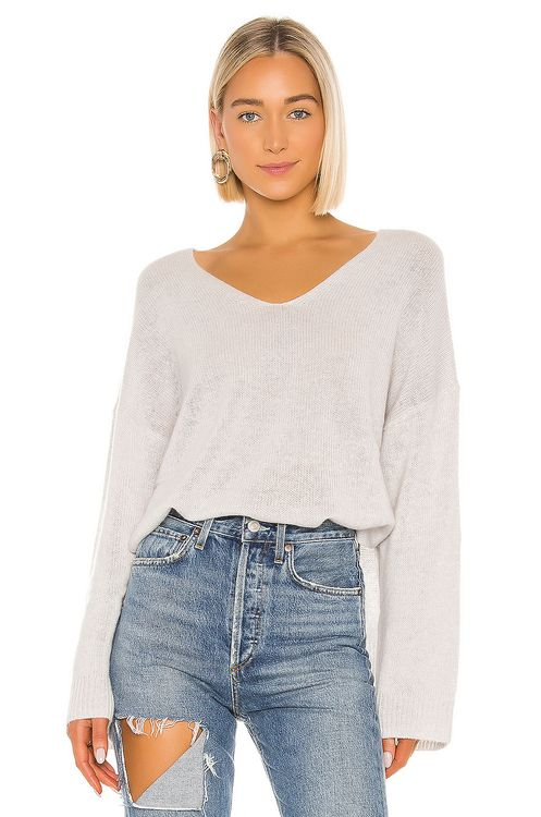 Autumn Cashmere Relaxed Double V Hi Lo Sweater