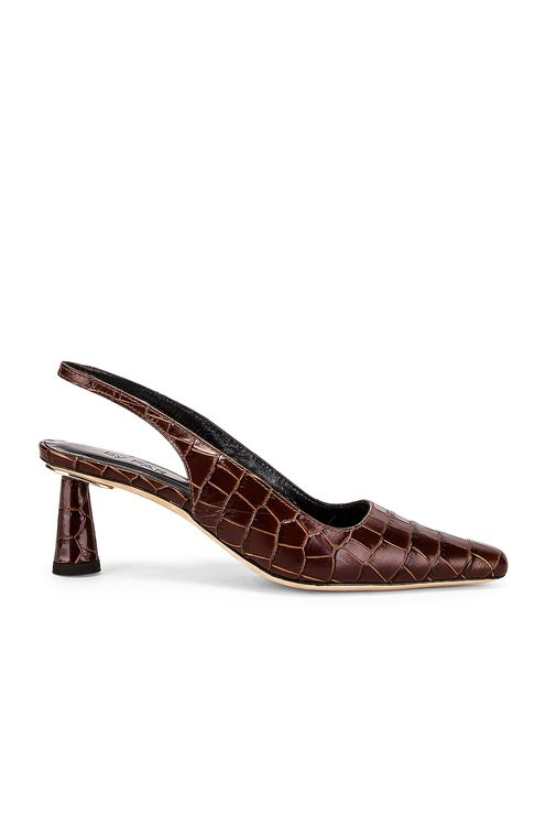 By Far Diana Nutella Croco Embossed Leather Heel
