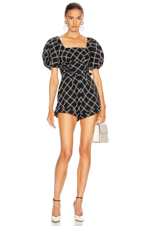 Self Portrait Window Pane Check Square Neck Playsuit