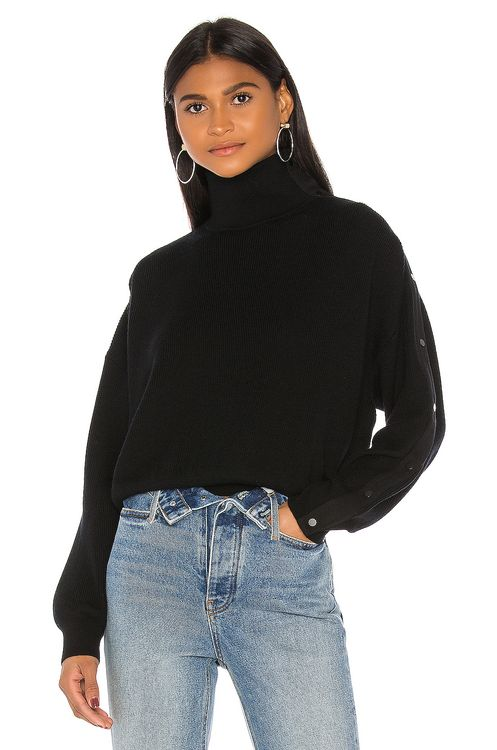 T by Alexander Wang Snap Hybrid Cropped Turtleneck