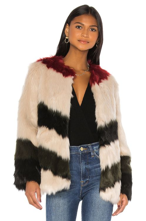 Frame Mixed Faux Fur Coat