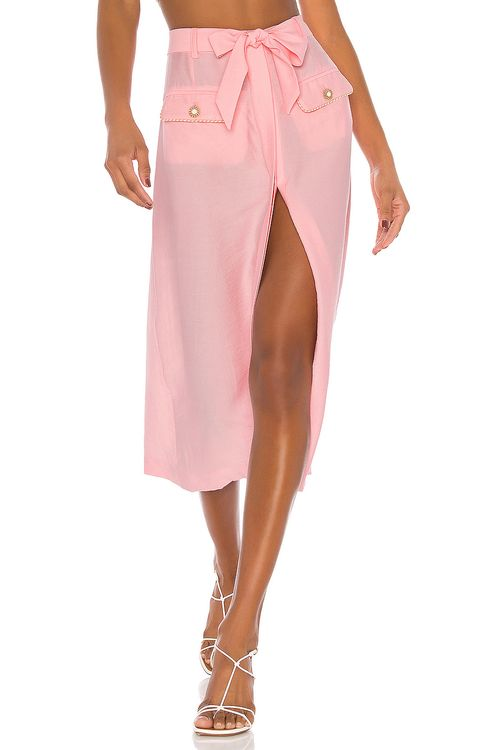 Jonathan Simkhai Piped Luxe Front Slit Skirt