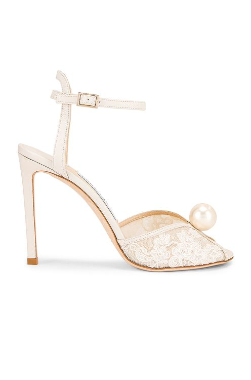 JIMMY CHOO Sacora 100 Floral Lace with Pearl Sandal