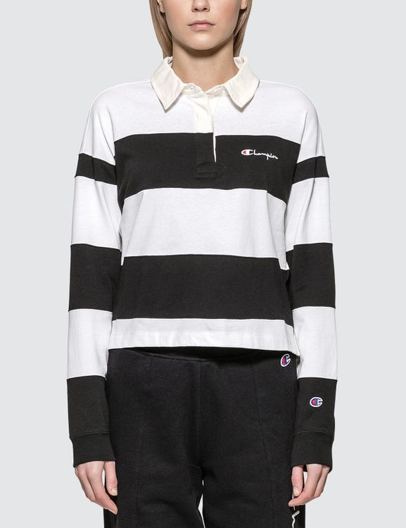 Champion Reverse Weave Small Script Striped Long Sleeve Polo Shirt