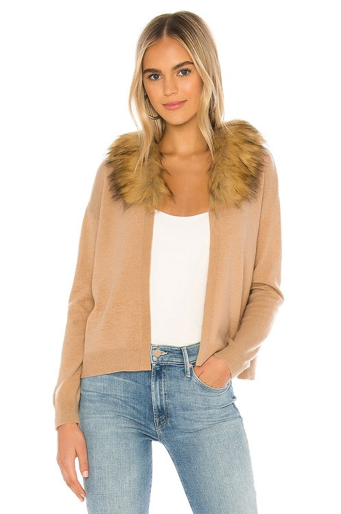 SWTR Faux Fur Collar Cardigan