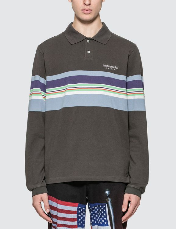 thisisneverthat L Logo Striped Jersey Polo