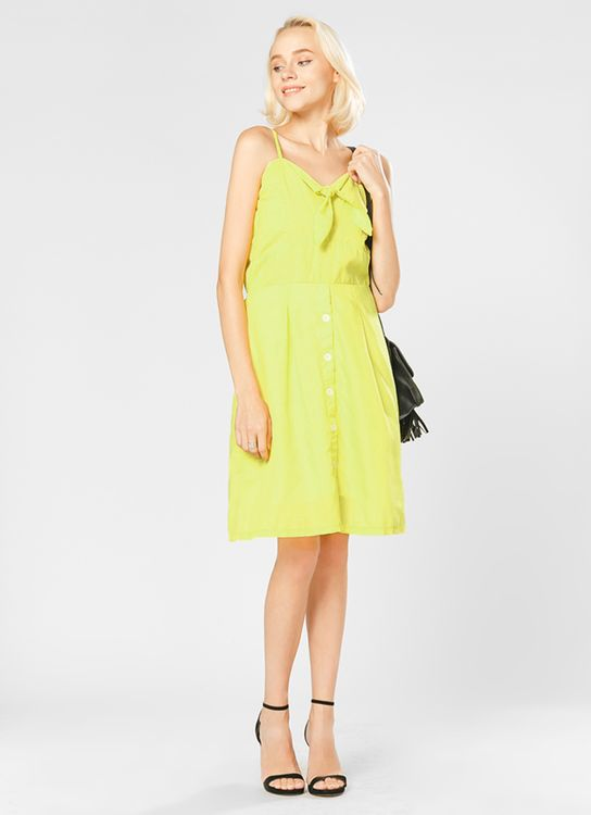 Lovadova Lime Button Tied Dress - Yellow
