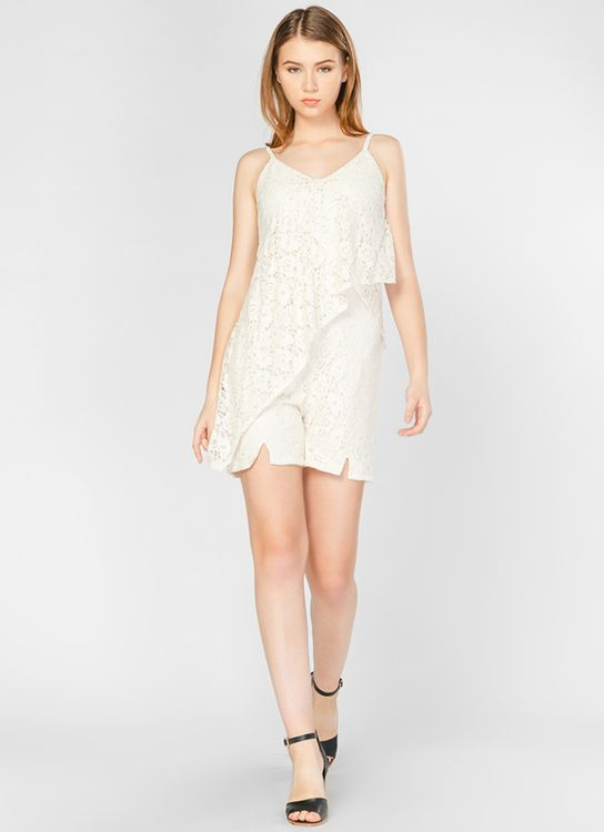 Lovadova Split Ruffle Lace Playsuit - White