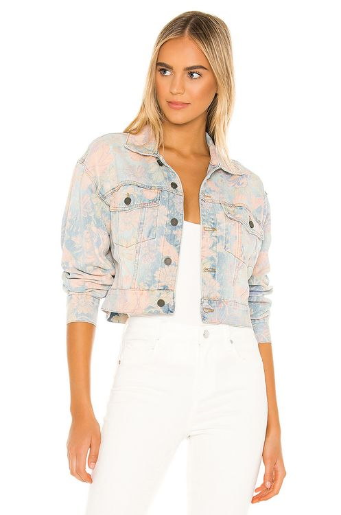 BLANKNYC Floral Printed Cropped Denim Trucker Jacket
