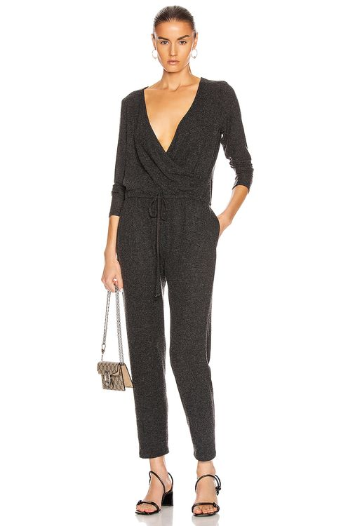 ENZA COSTA Peached Jersey Wrap Front Jumpsuit