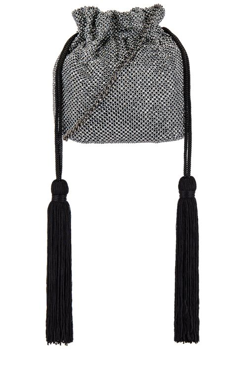 olga berg BiancaKarina Crystal Mesh Drawstring Pouch Bag in Gunmetal Ball Mesh Handle Bag