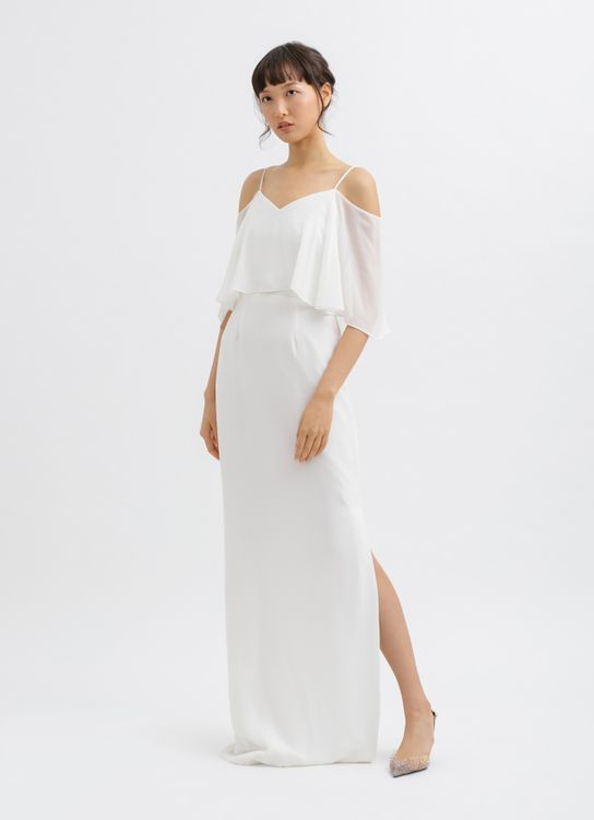 CLOTH INC Multiway Side Slit Maxi Dress in White