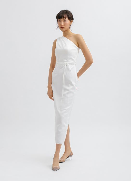 CLOTH INC One Shoulder Tied Midi Dress in White