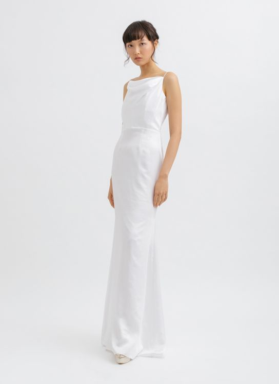 CLOTH INC Drapery Neck Backless Maxi Dress in White