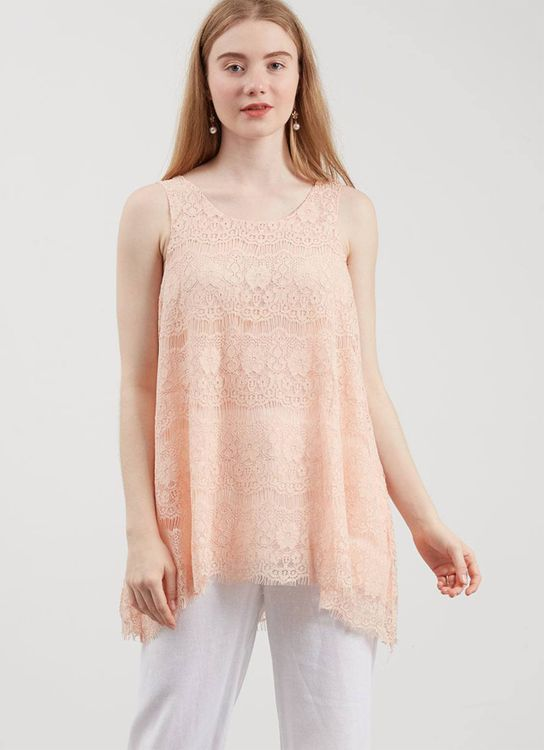 Lovadova Apricot Lace Top - Orange
