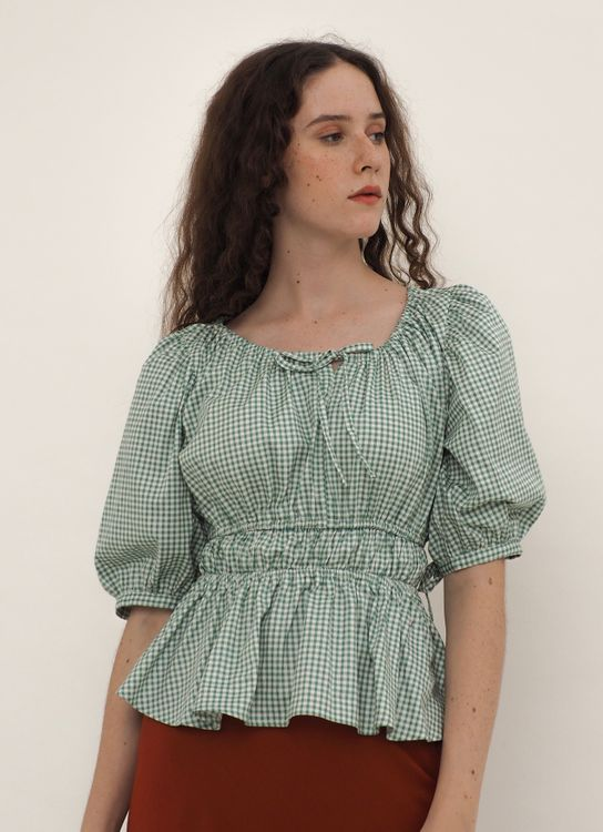 Starry Romance Blouse Mint Gingham