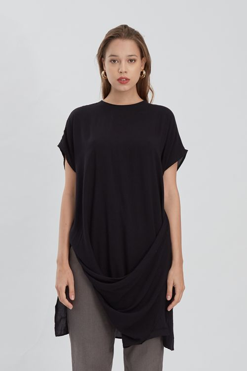 Shopatvelvet Drape Waist Top Black