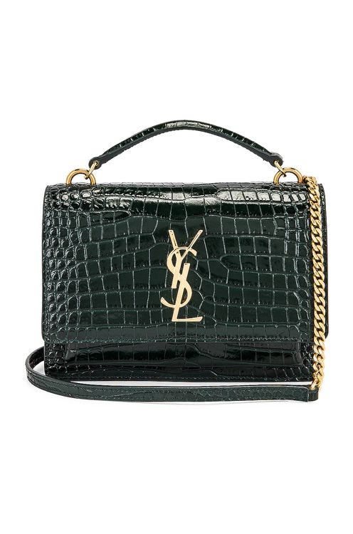 Saint Laurent Sunset Embossed Croc Monogramme Bag