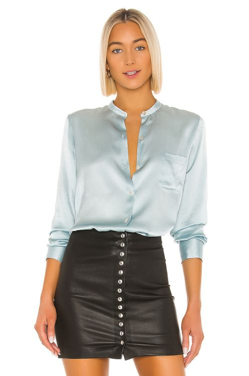 Vince Fitted Band Collar Top
