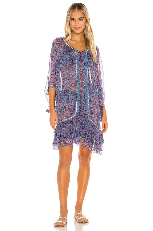 Poupette St Barth Bety Ruffled Poncho Dress
