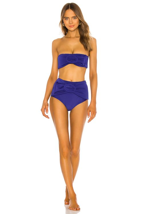 Adriana Degreas Marjorelle Blue Belted Hot Pant Bikini Set