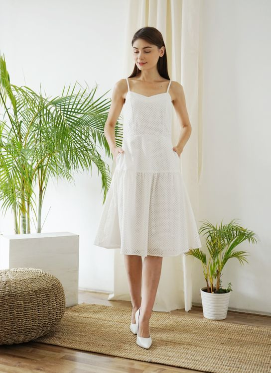 Impromptu Eyelets Summer Dress - White