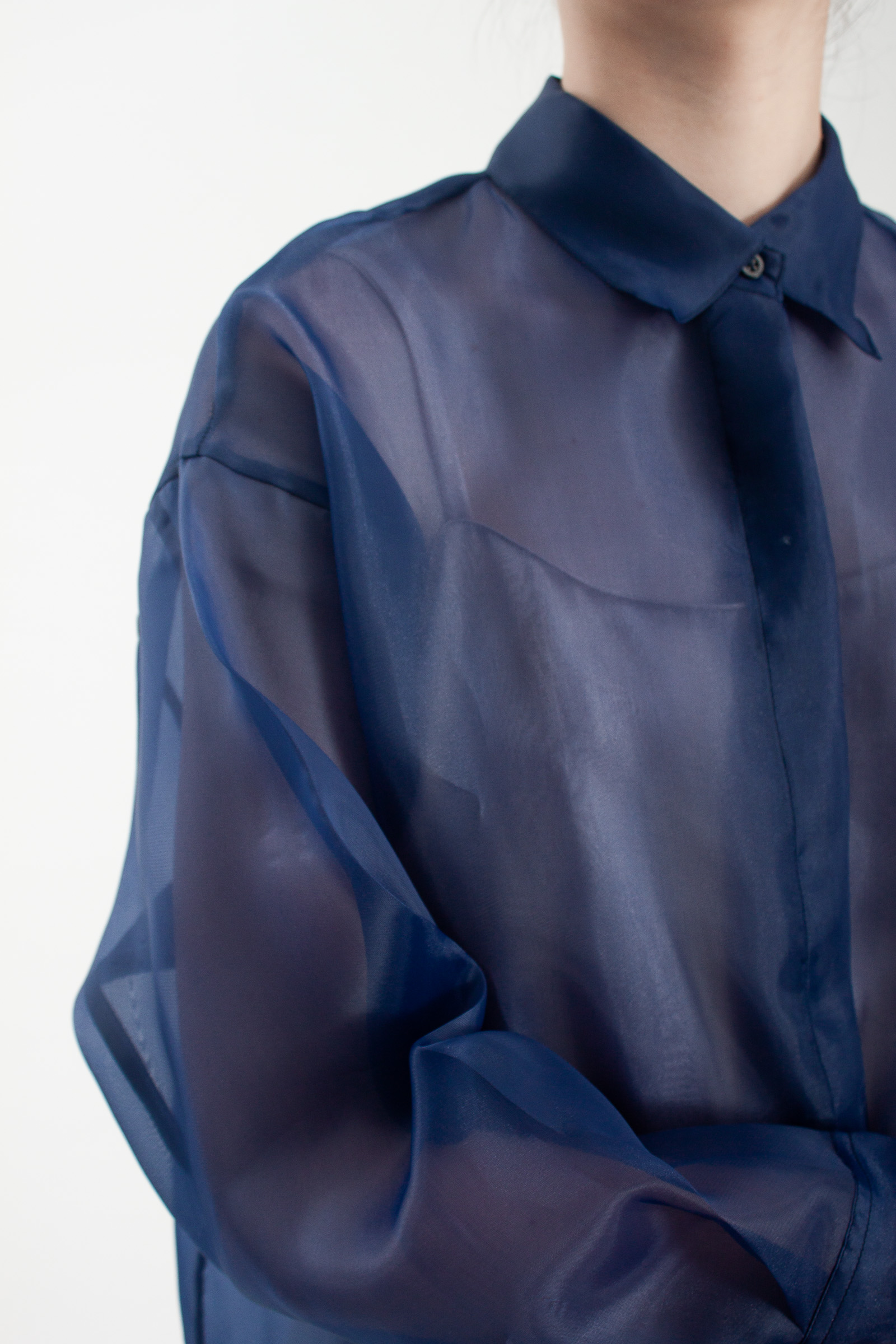 Shopatvelvet Marco Organza Shirt in Navy