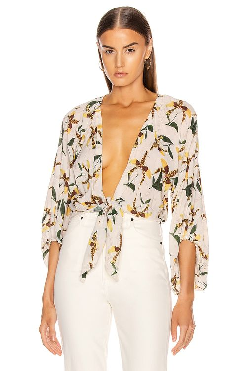Adriana Degreas Leopard Orchid Shirt With Voluminous Sleeves