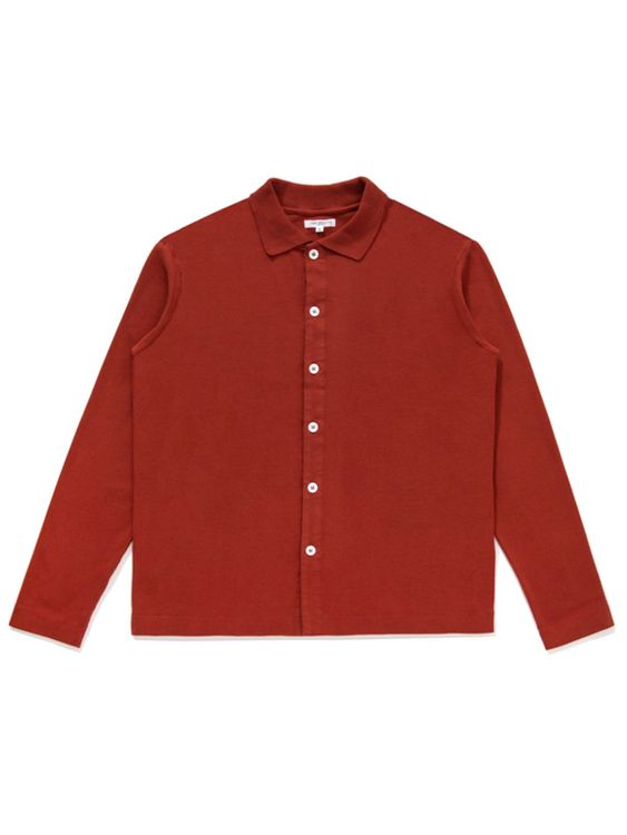 Lady White Co. Lady White Co. Long Sleeve Placket Polo Red Ochre