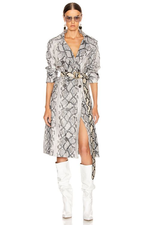 ANDAMANE Claretta Faux Leather Snake Print Trench Coat