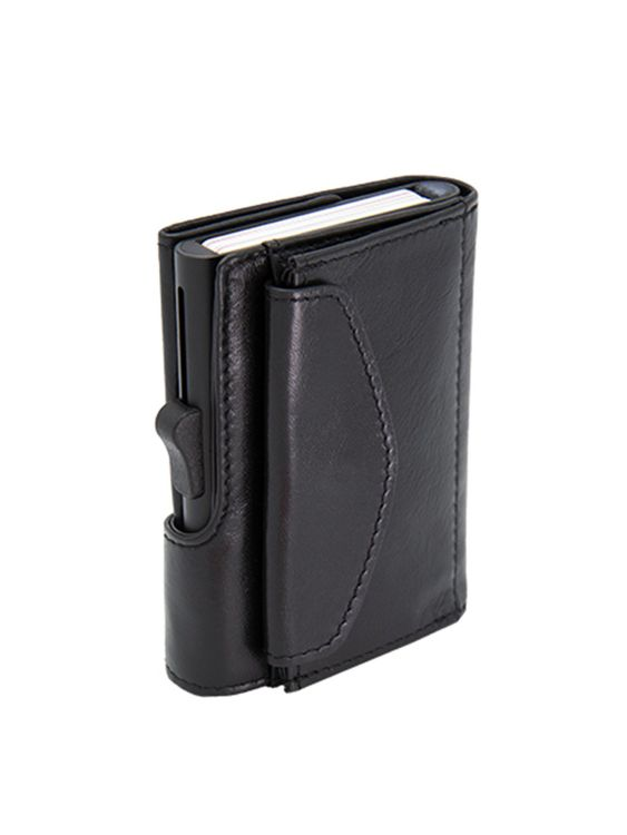C-Secure C-Secure XL Italian Leather Wallet with Coin Pouch RFID Nero Black