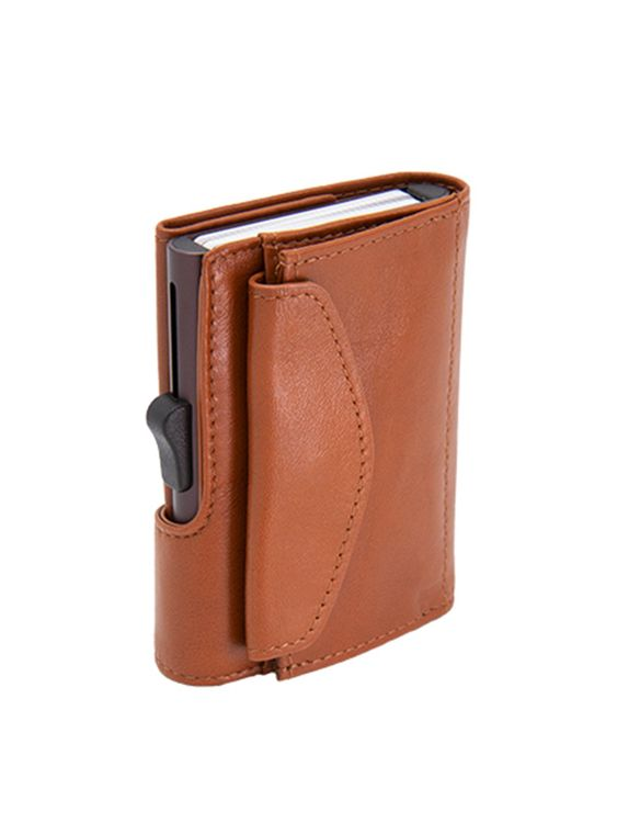 C-Secure C-Secure XL Italian Leather Wallet with Coin Pouch RFID Chestnut Brown
