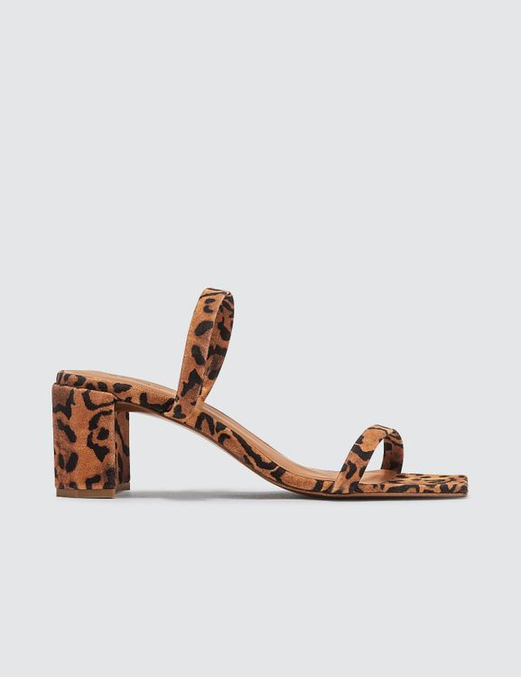 By Far Tanya Leopard Print Suede Leather Sandals