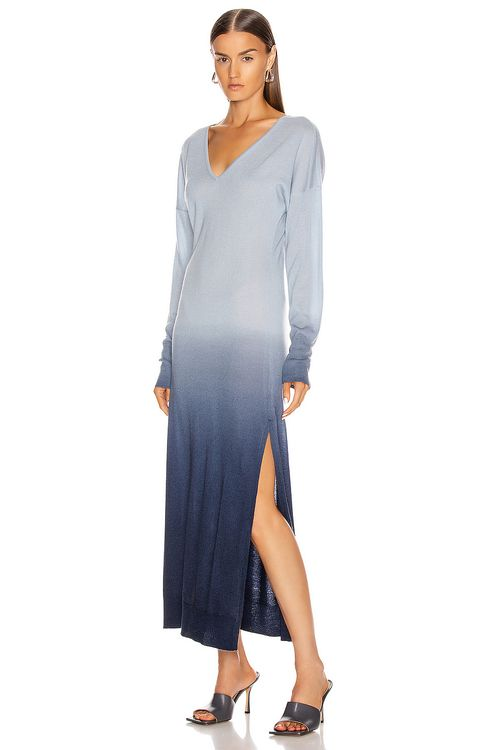 Jonathan Simkhai Ombre Cashmere Long Sleeve Slit Dress