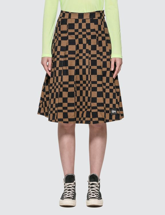 Stussy Sabi Checker Pleated Mid Skirt