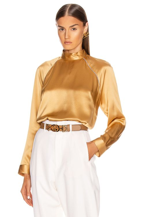 Michelle Mason for FWRD Raglan Blouse With Crystal