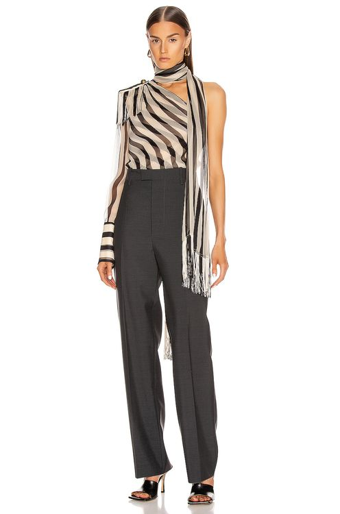 Monse Striped Regalia Scarf Blouse