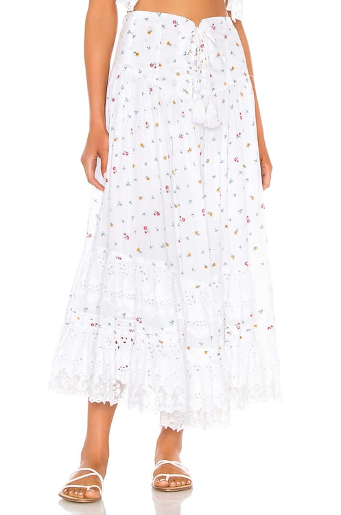 Place Nationale L'Etage Floral Print Tiered Maxi Skirt