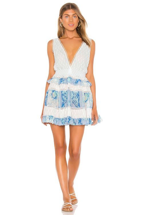 CHIO Silk Ruffle Macrame Mini Dress