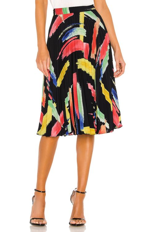 Milly Modern Brushstroke Print Twill Pleated Skirt