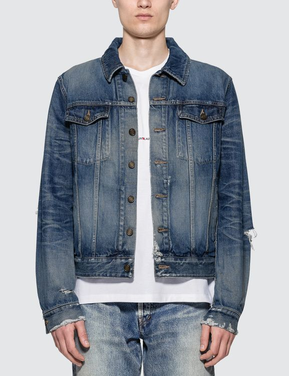 Saint Laurent Destroyed Denim Jacket