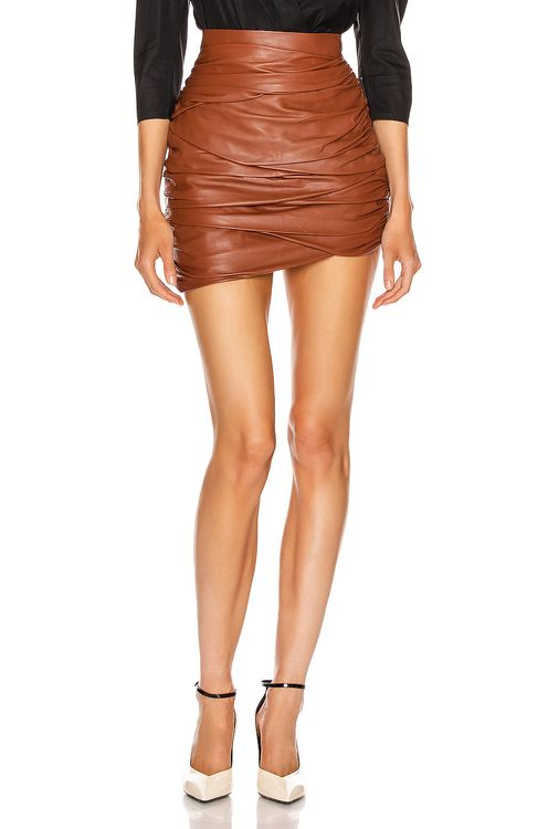 Zeynep Arcay Asymmetric Mini Draped Leather Skirt