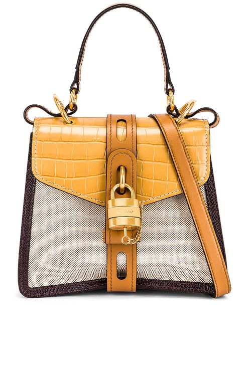 Chloé Small Aby Embossed Croc and Canvas Shoulder Bag
